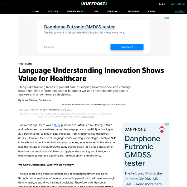 Language Understanding Innovation Shows Value for Healthcare