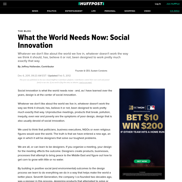 What the World Needs Now: Social Innovation