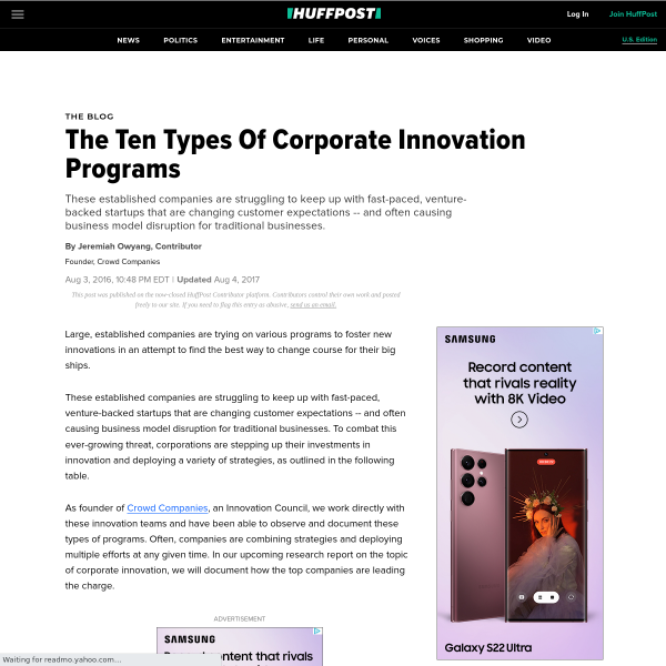 The Ten Types Of Corporate Innovation Programs