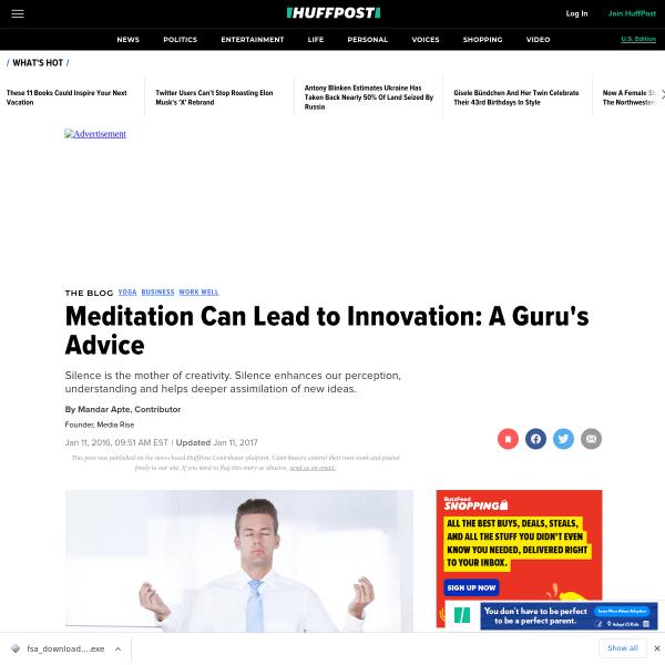 Meditation Can Lead to Innovation: A Guru's Advice