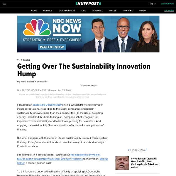 Getting Over The Sustainability Innovation Hump