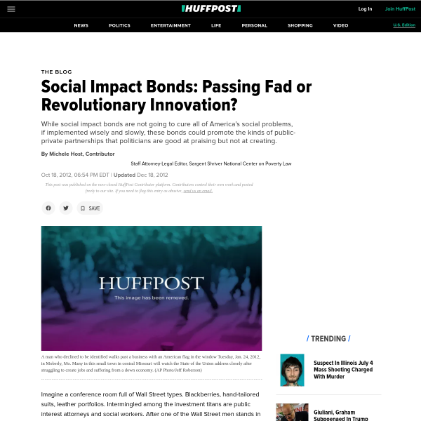 Social Impact Bonds: Passing Fad or Revolutionary Innovation?