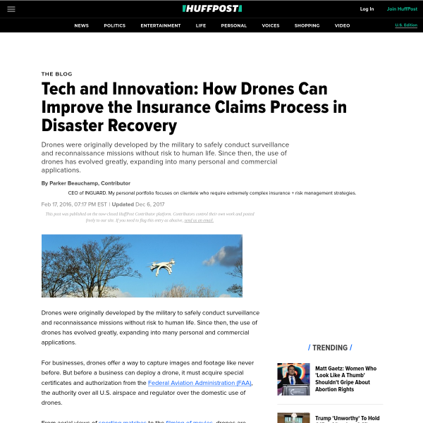 Tech and Innovation: How Drones Can Improve the Insurance Claims Process in Disaster Recovery