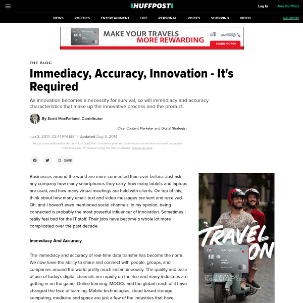 Immediacy, Accuracy, Innovation - It's Required