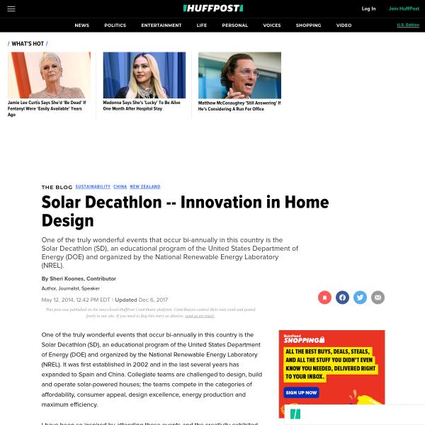Solar Decathlon -- Innovation in Home Design
