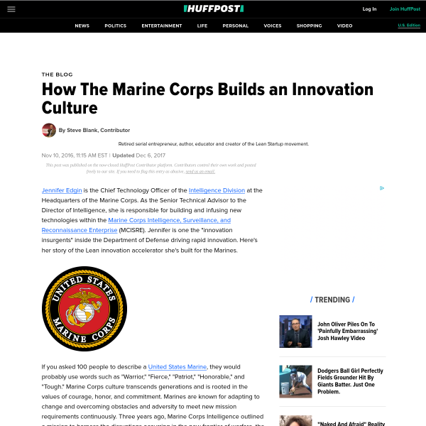 How The Marine Corps Builds an Innovation Culture