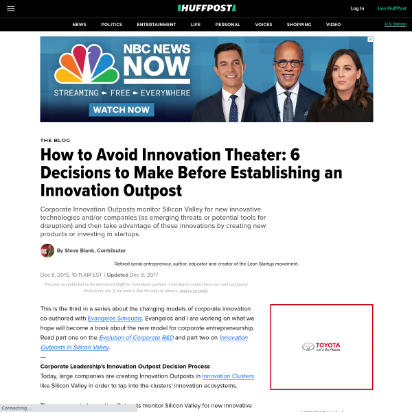 How to Avoid Innovation Theater: The 6 Decisions to Make Before Establishing an Innovation Outpost