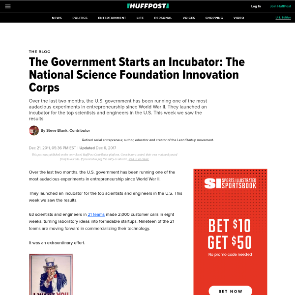 The Government Starts an Incubator: The National Science Foundation Innovation Corps