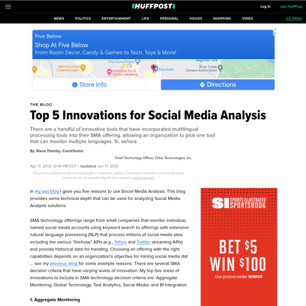 Top 5 Innovations for Social Media Analysis