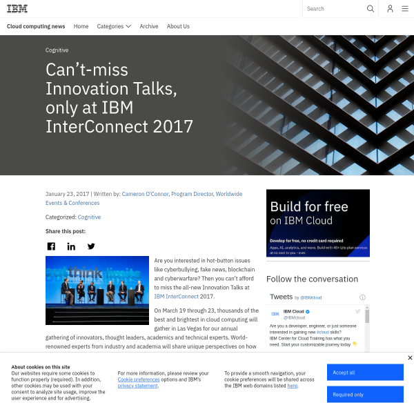 Can't-miss Innovation Talks, only at IBM InterConnect 2017 - Cloud computing news