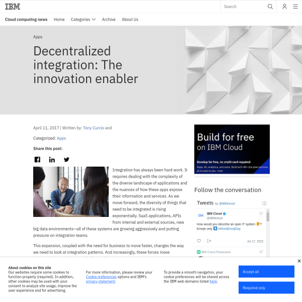 Decentralized integration: The innovation enabler - Cloud computing news