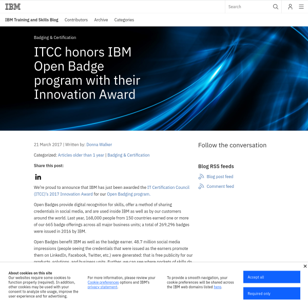 ITCC honors IBM Open Badge program with their Innovation Award - IBM Training and Skills Blog