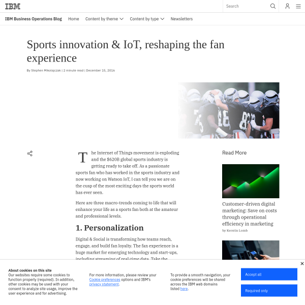 Sports innovation & IoT, reshaping the fan experience