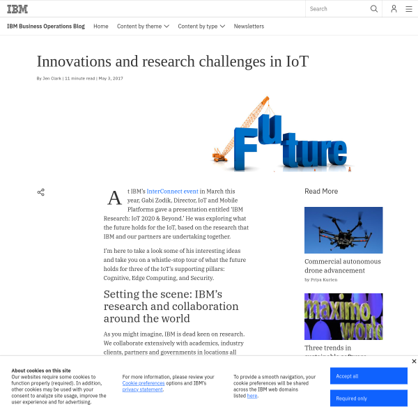 Innovations and research challenges in IoT: Internet of Things blog