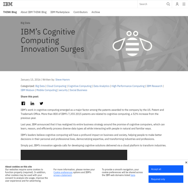 IBM's Cognitive Computing Innovation Surges - THINK Blog
