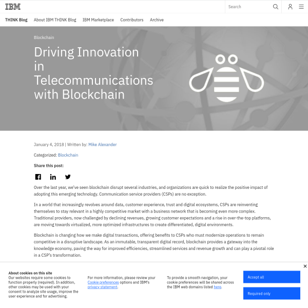 Driving Innovation in Telecommunications with Blockchain - THINK Blog