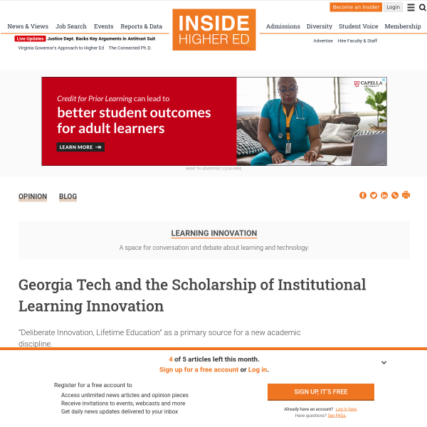 Georgia Tech and the Scholarship of Institutional Learning Innovation - Inside Higher Ed