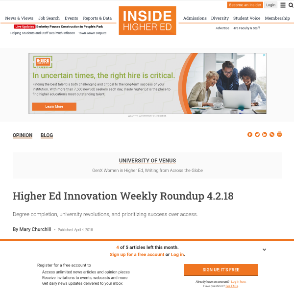 Higher Ed Innovation Weekly Roundup 4.2.18 - Inside Higher Ed