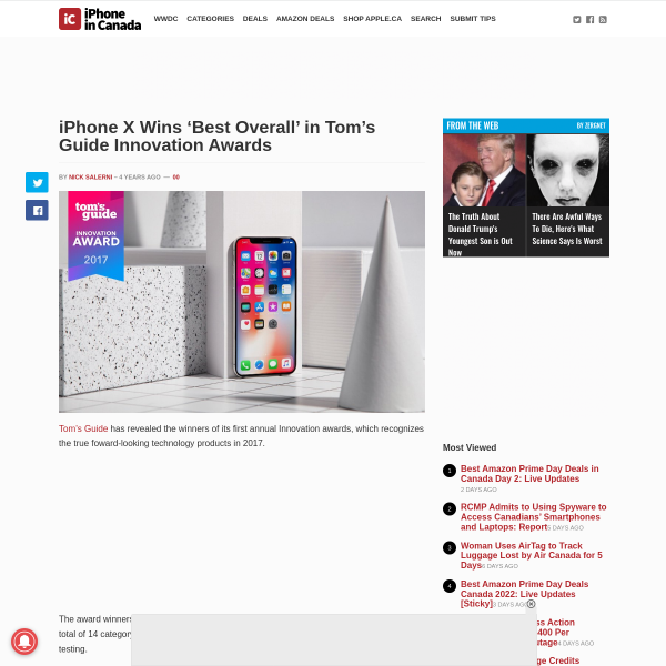 iPhone X Wins 'Best Overall' in Tom's Guide Innovation Awards