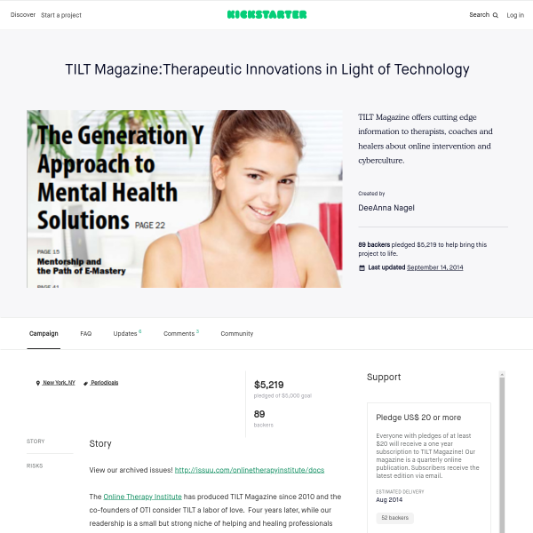TILT Magazine:Therapeutic Innovations in Light of Technology