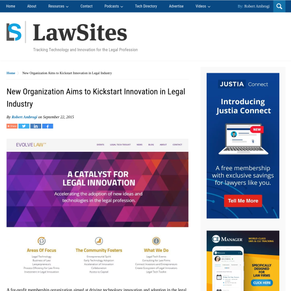 New Organization Aims to Kickstart Innovation in Legal Industry - LawSites