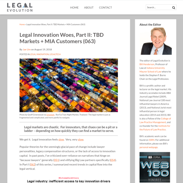 Legal Innovation Woes, Part II: TBD Markets + MIA Customers (063) - Legal Evolution