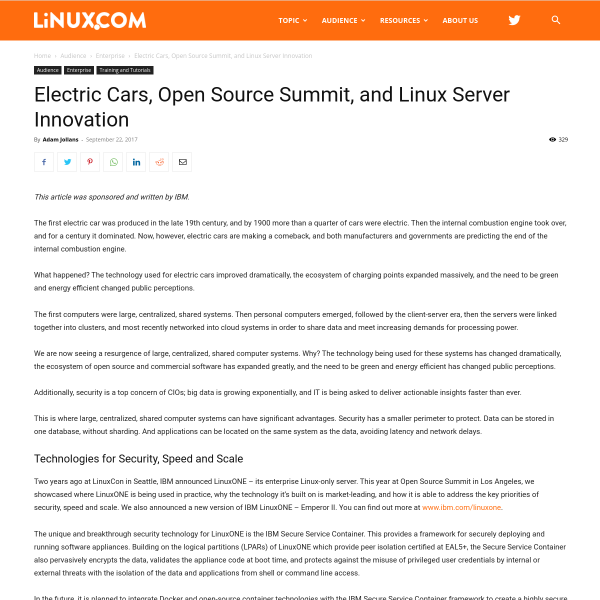 Electric Cars, Open Source Summit, and Linux Server Innovation