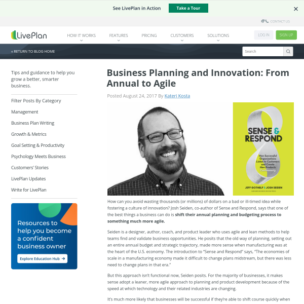 Business Planning and Innovation: From Annual to Agile - LivePlan Blog