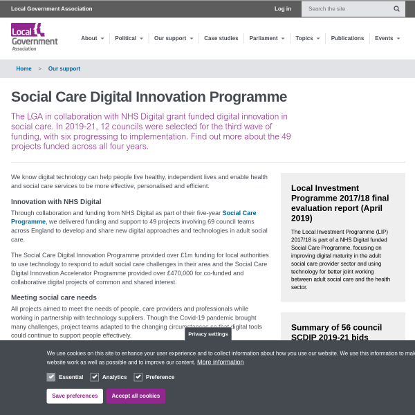 Social Care Digital Innovation Programme
