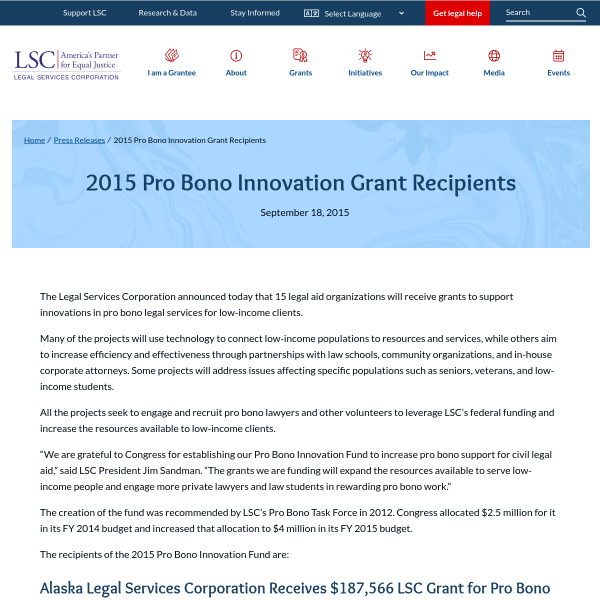 2015 Pro Bono Innovation Grant Recipients