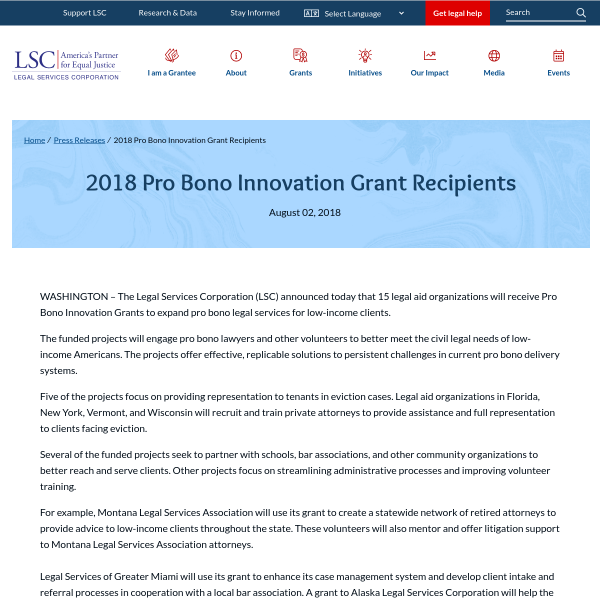 2018 Pro Bono Innovation Grant Recipients