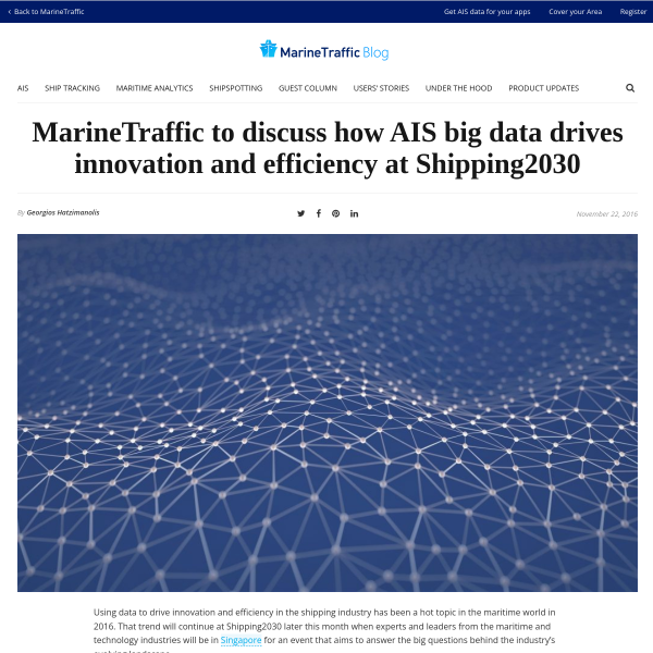 MarineTraffic to discuss how AIS big data drives innovation and efficiency at Shipping2030 - MarineTraffic Blog