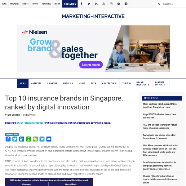Top 10 insurance brands in Singapore, ranked by digital innovation