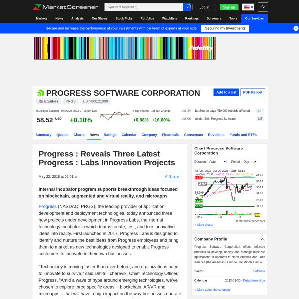 Progress : Reveals Three Latest Progress : Labs Innovation Projects - MarketScreener