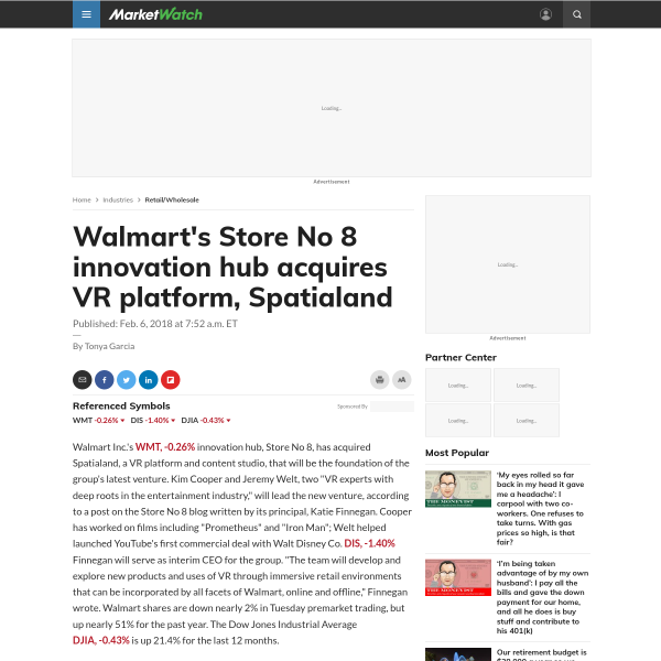 Walmart's Store No 8 innovation hub acquires VR platform, Spatialand