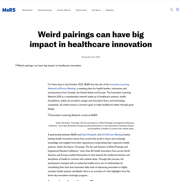 Weird pairings can have big impact in healthcare innovation - MaRS