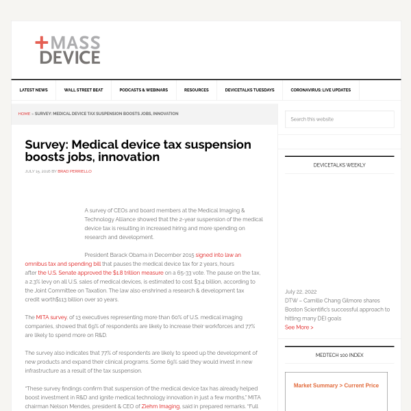 Survey: Medical device tax suspension boosts jobs, innovation - MassDevice