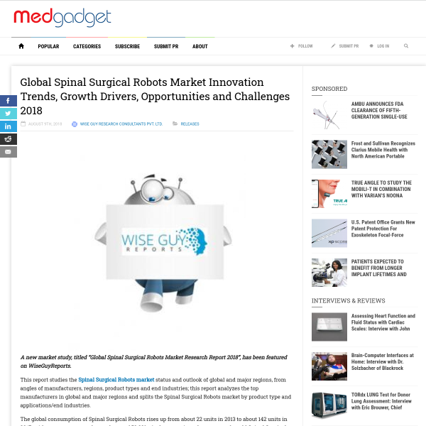 Global Spinal Surgical Robots Market Innovation Trends, Growth Drivers, Opportunities and Challenges 2018 -