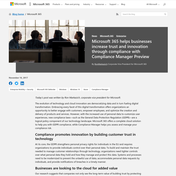 Microsoft 365 helps businesses increase trust and innovation through compliance with Compliance Manager Preview - Microsoft 365 Blog