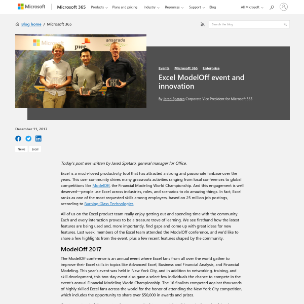 Excel ModelOff event and innovation - Microsoft 365 Blog