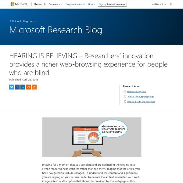 HEARING IS BELIEVING – Researchers' innovation provides a richer web-browsing experience for people who are blind - Microsoft Research