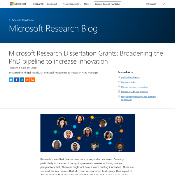 Microsoft Research Dissertation Grants: Broadening the PhD pipeline to increase innovation - Microsoft Research