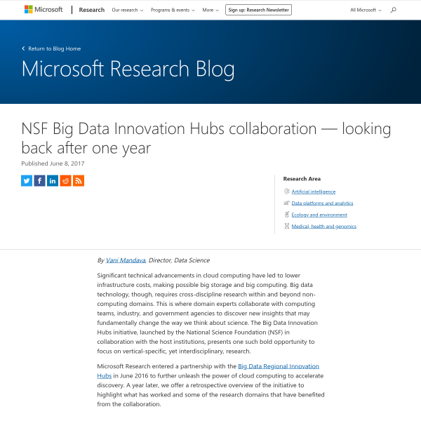 NSF Big Data Innovation Hubs collaboration — looking back after one year - Microsoft Research