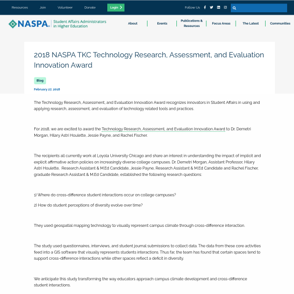 2018 NASPA TKC Technology Research, Assessment, and Evaluation Innovation Award - Technology Post