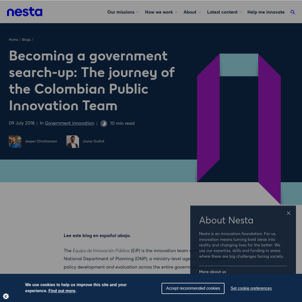 Becoming a government search-up: The journey of the Colombian Public Innovation Team