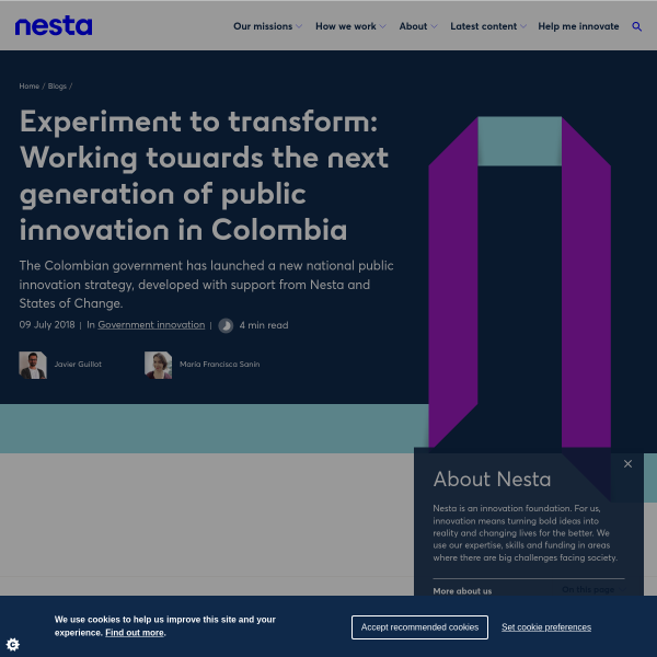 Experiment to transform: Working towards the next generation of public innovation in Colombia