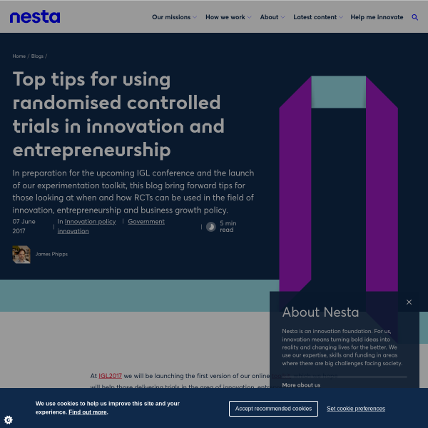Top tips for using randomised controlled trials in innovation and entrepreneurship