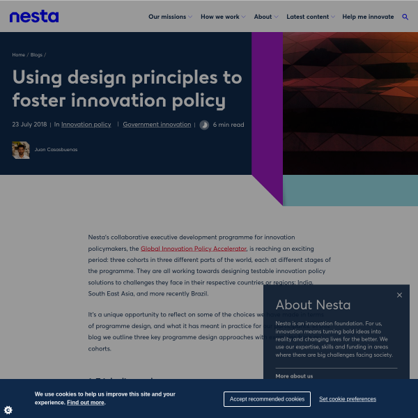 Using design principles to foster innovation policy
