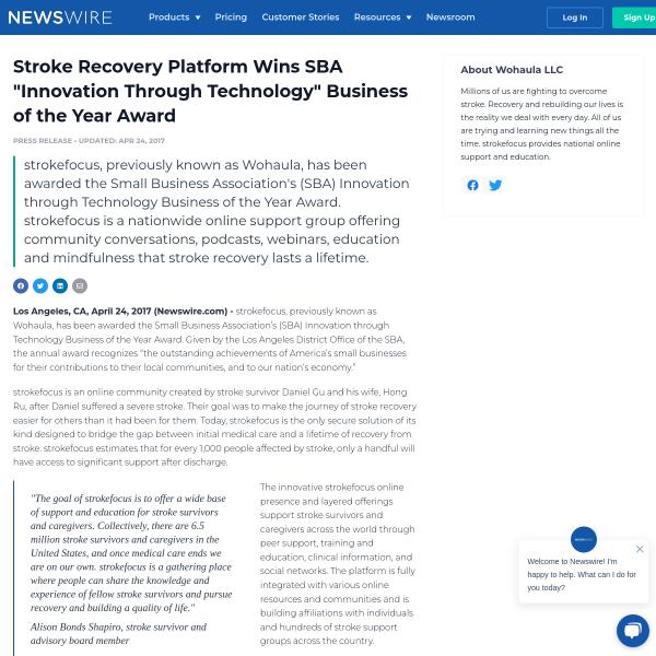 Stroke Recovery Platform Wins SBA