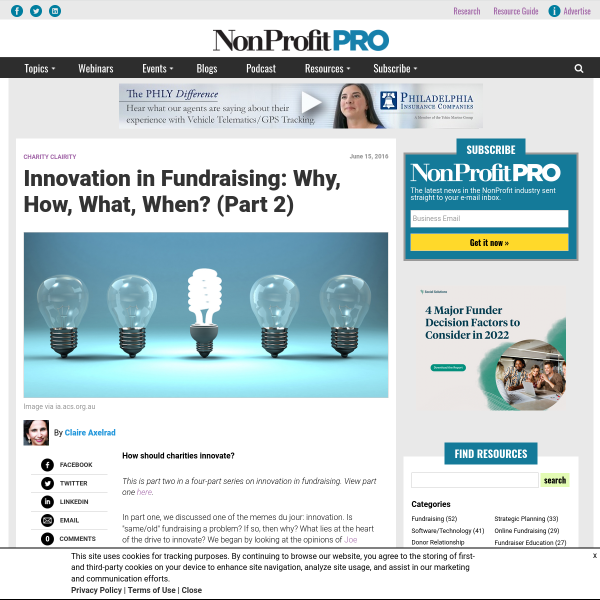 Innovation in Fundraising: Why, How, What, When? (Part 2) - NonProfit PRO